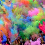 Colored powder the color run and Holi Festival of Colors